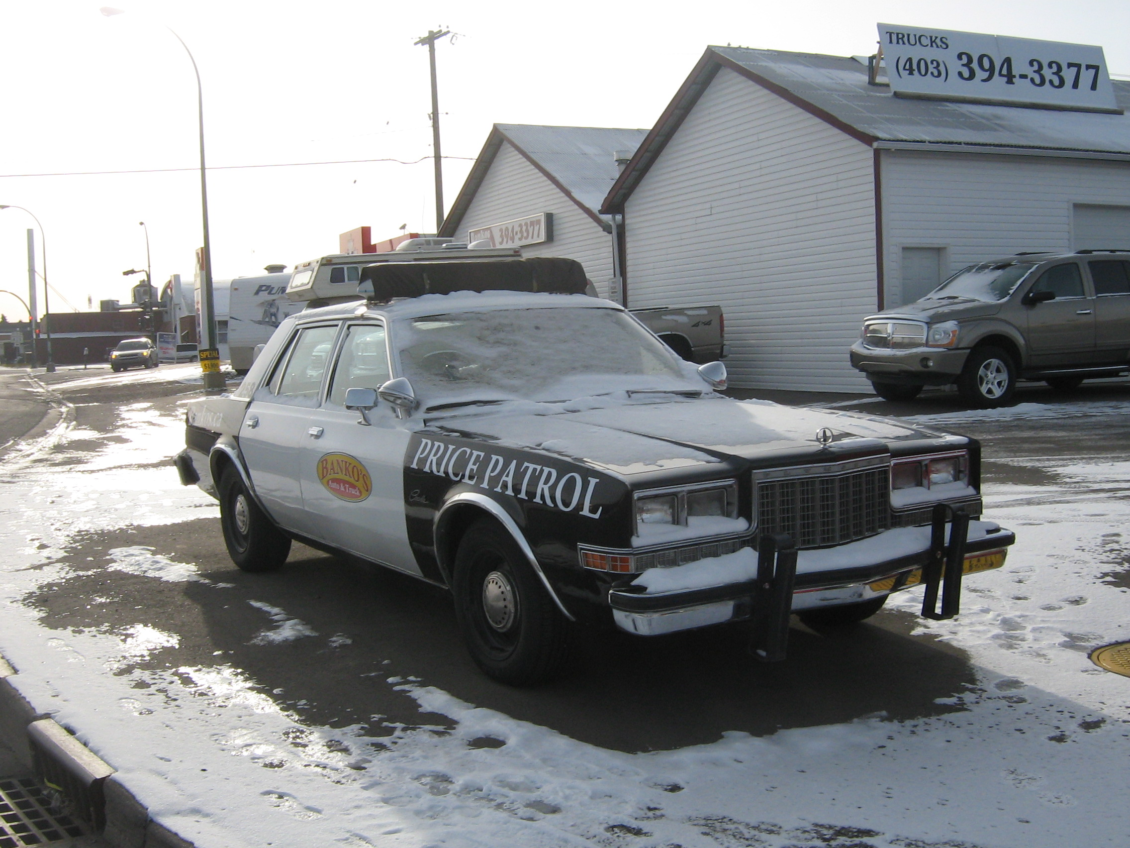 82 plymouth caravelle police car in snow