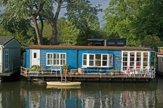A blue Houseboat