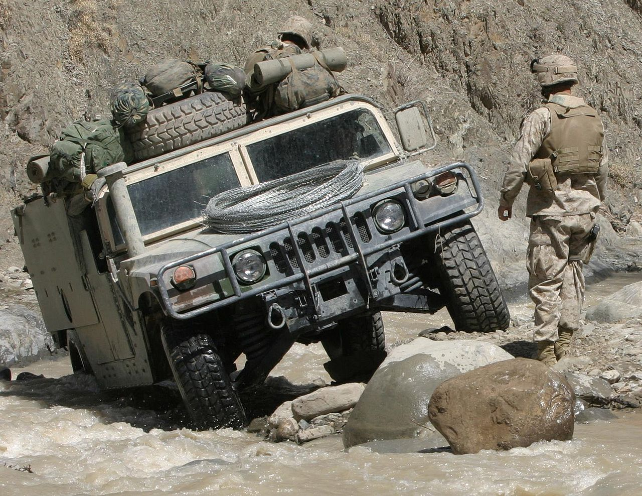 Humvee in a River