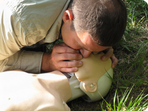 Mouth to mouth resuscitation.