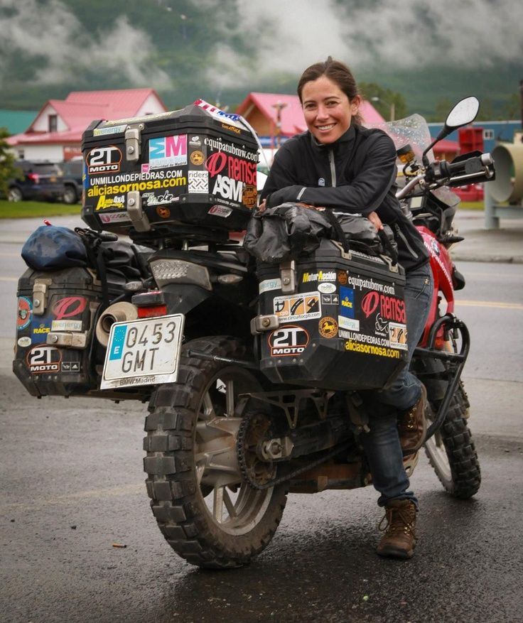Woman with Survival Dual Sport Motorcycle